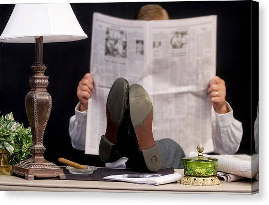 Man Read Newspaper Canvas Print by Trudy Wilkerson