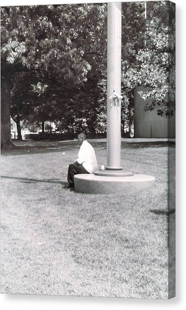 Man Resting At Pole Canvas Print by Floyd Smith