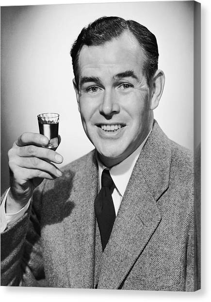 Man With Alcoholic Beverage Canvas Print by George Marks