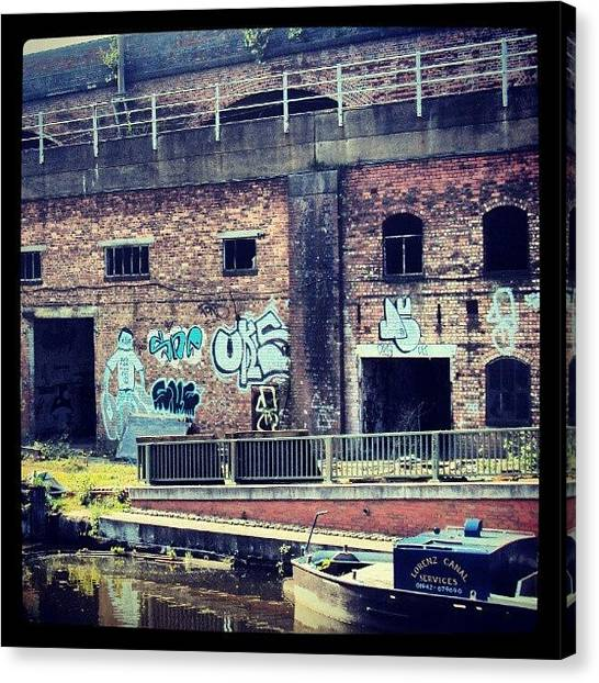 England Canvas Print - #manchestercanal #manchester #canal #uk by Abdelrahman Alawwad