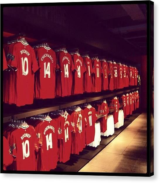 Football Canvas Print - #manchesterunited #manunited #megastore by Abdelrahman Alawwad