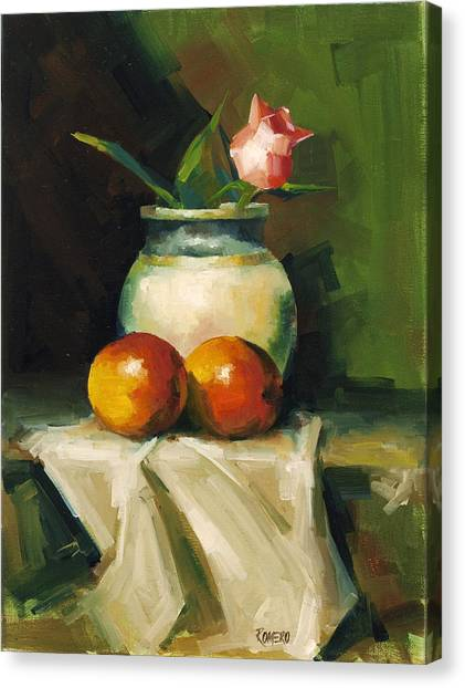 Mangoes And Rose Canvas Print by Pepe Romero