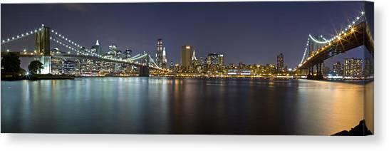 Manhattan At Night Panorama 2 Canvas Print