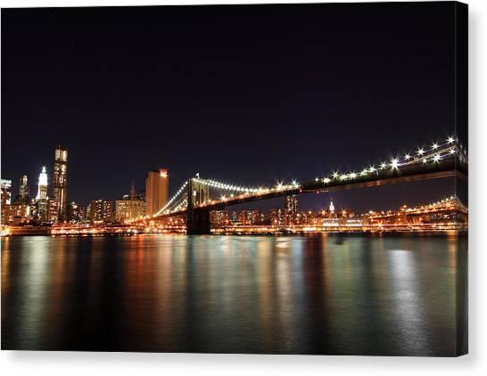 Manhattan Nightscape With Brooklyn Bridge Canvas Print by Kean Poh Chua