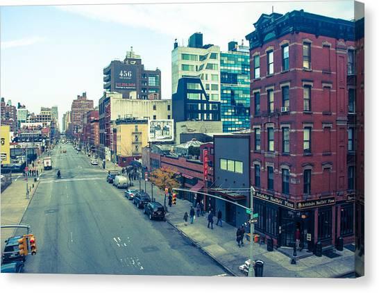 Manhattan Street Scene Canvas Print by Nancy Kennedy