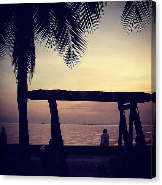 Palm Trees Sunsets Canvas Print - Manila Baywalk by Krystle Pagkalinawan