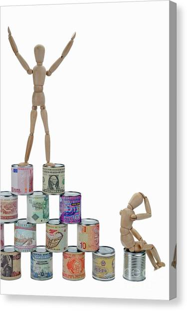 Exchange Rate Canvas Print - Mannequins On A Banknotes Pyramid by Sami Sarkis