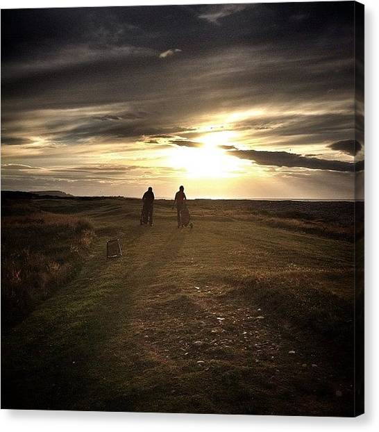Golfers Canvas Print - Mannies Gowfing! #silhouette #sun by Robert Campbell