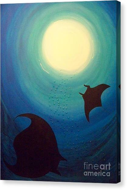 Snorkling Canvas Print - Manta Rays by Gigi Croom