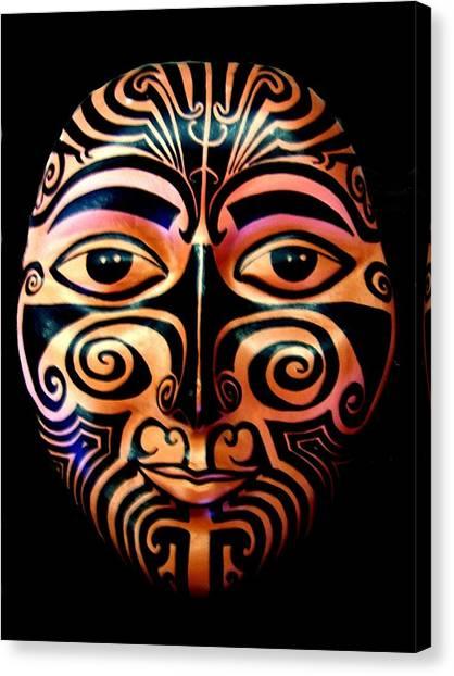 Canvas Print featuring the sculpture Maori Mask by Michelle Dallocchio