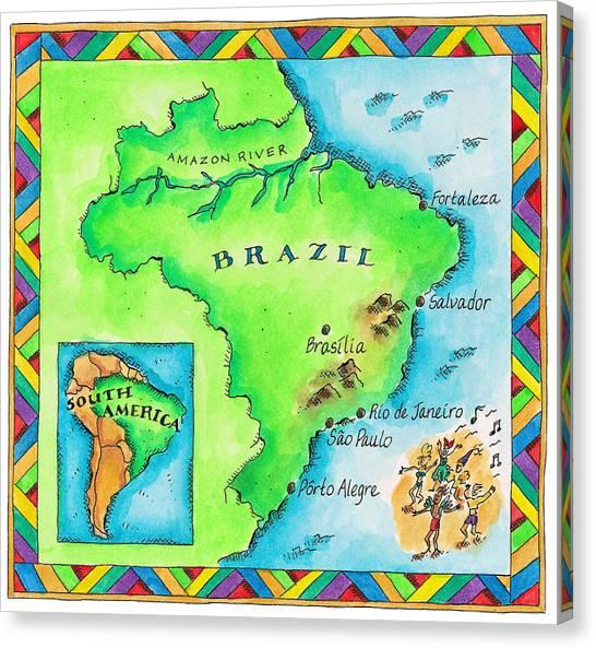 Map Of Brazil Canvas Print by Jennifer Thermes
