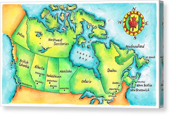 Newfoundland And Labrador Canvas Print - Map Of Canada by Jennifer Thermes
