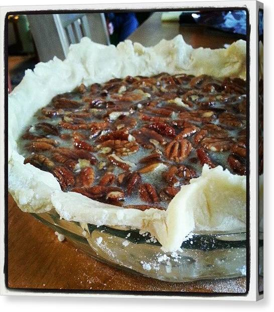 Bakeries Canvas Print - Maple Pecan Pie Is Poured And In The by Lisa Marchbanks