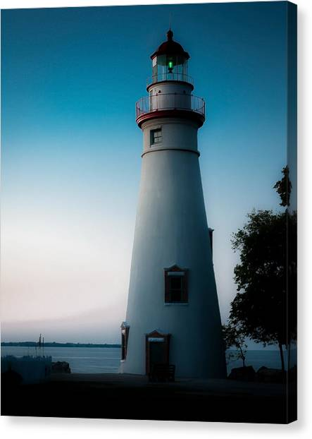 Marblehead Lighthouse Dusk Canvas Print by John Traveler