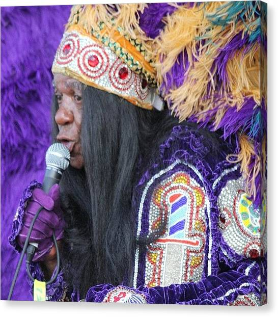 Indian Canvas Print - Mardi Gras Indian Sings At Jazz Fesr by Rebecca Shinners