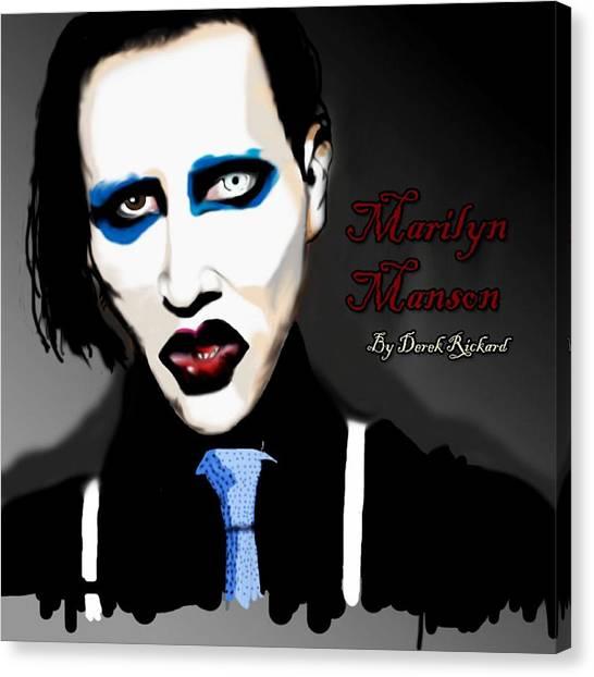 Marilyn Manson Portrait Canvas Print by Derek Rickard