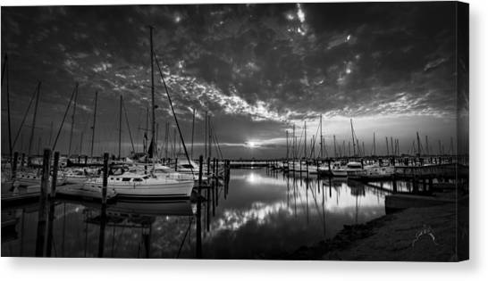Canvas Print featuring the photograph Marina At Fort Monroe Bw by Williams-Cairns Photography LLC