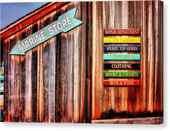 Marina Store Signs Canvas Print by Trudy Wilkerson