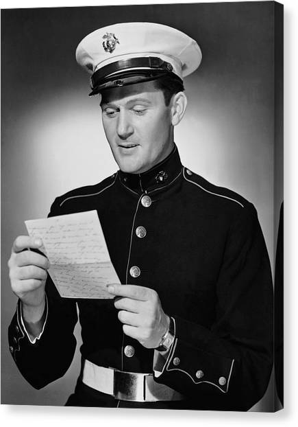 Marine Reading Letter Canvas Print by George Marks