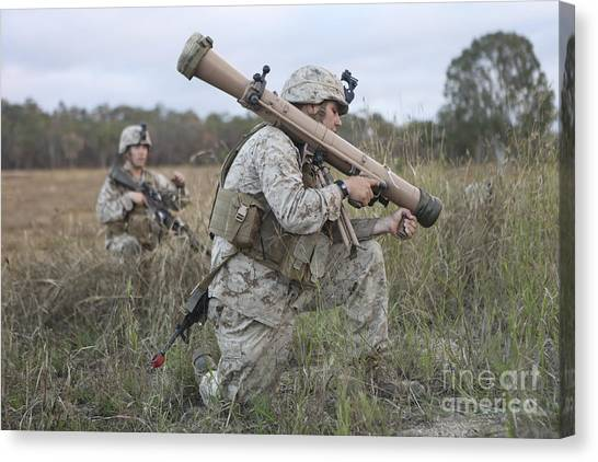 Hamels Canvas Print - Marines Conduct A Simulated Attack by Stocktrek Images