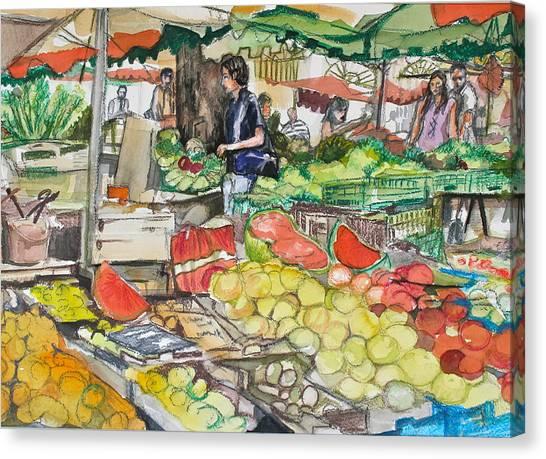 Market At Aix En Provence Canvas Print by Laurel Fredericks