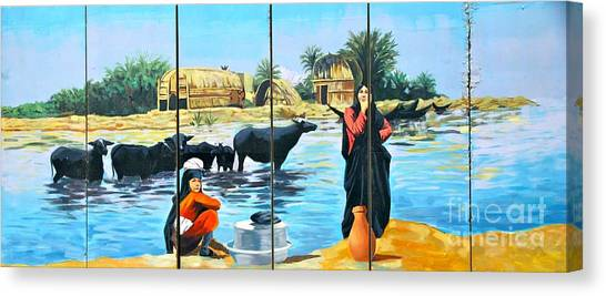 Marsh Arabs - Basrah Iraq Canvas Print by Unknown - Local National