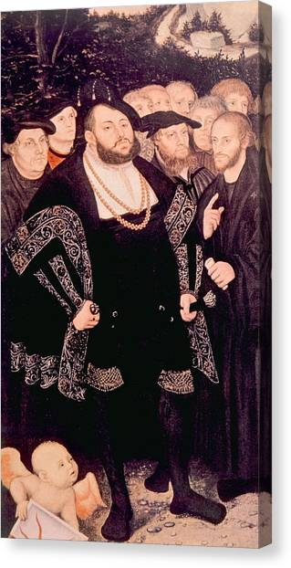 Martin Luther Left With His Friends Canvas Print by Everett