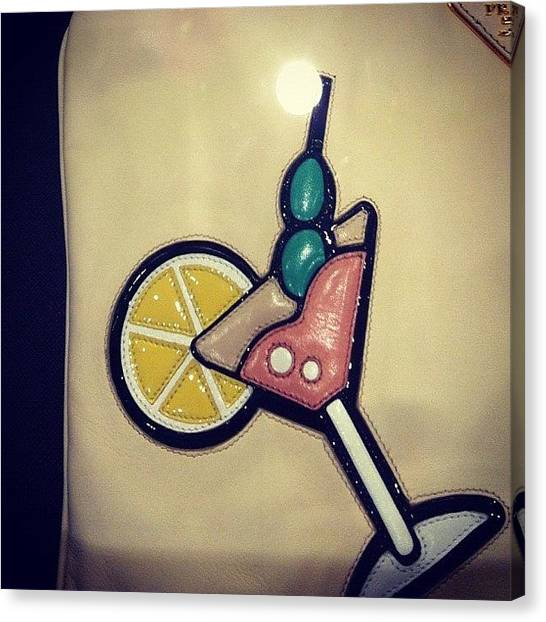 Martini Canvas Print - #martini #lemon #ice #drink #leather by Alex Mamutin