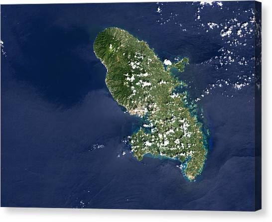 Mount Pelee Canvas Print - Martinique Volcano, Satellite Image by Planetobserver