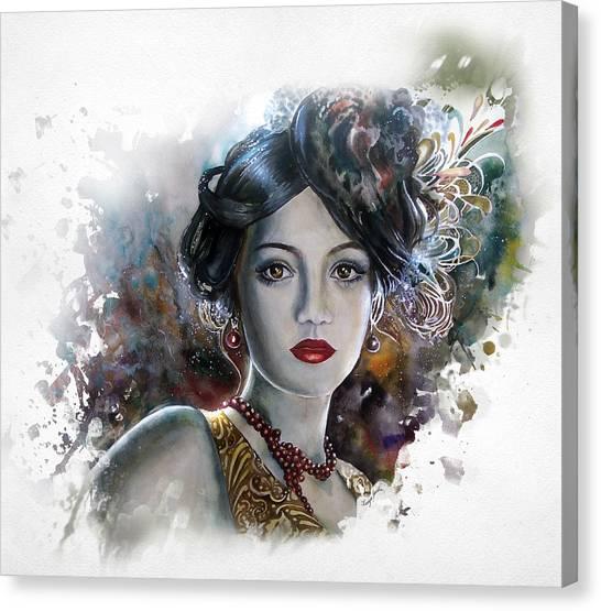 Mary Lips Like Cherries Canvas Print by Tanya Jacobsz