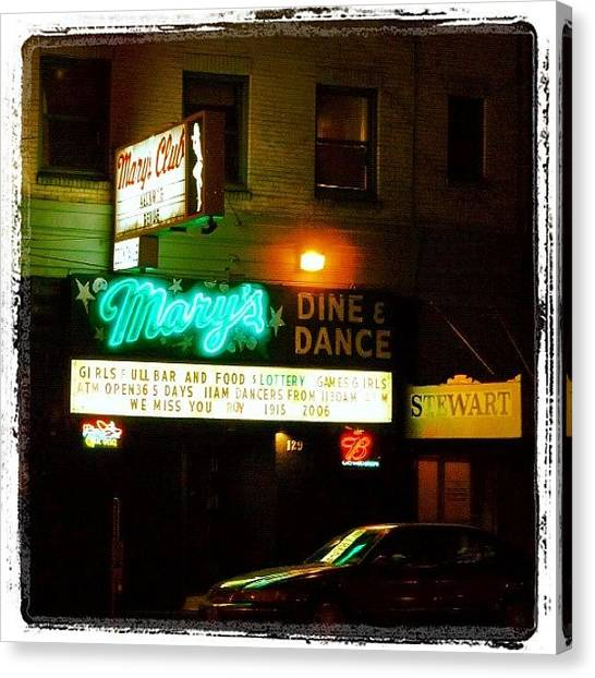 Street Signs Canvas Print - Mary's Dine And Dance by T Catonpremise