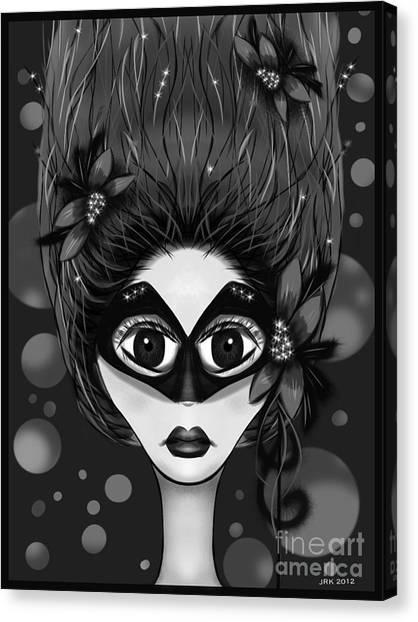 Masquerade Bw Canvas Print