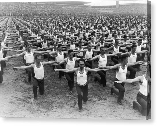 Mass Gymnastics Canvas Print by Archive Photos