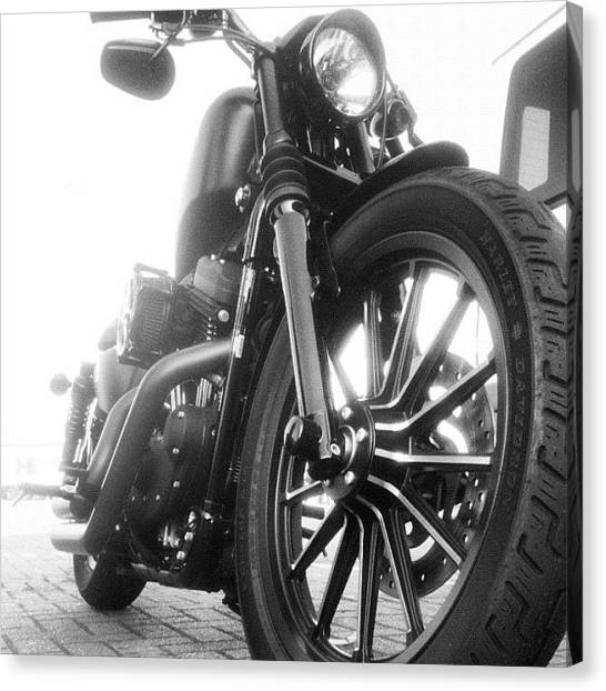 Harley Davidson Canvas Print - Matt Black Harley by Mike Leport