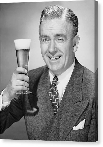 Mature Businessman W/ Beer Canvas Print by George Marks