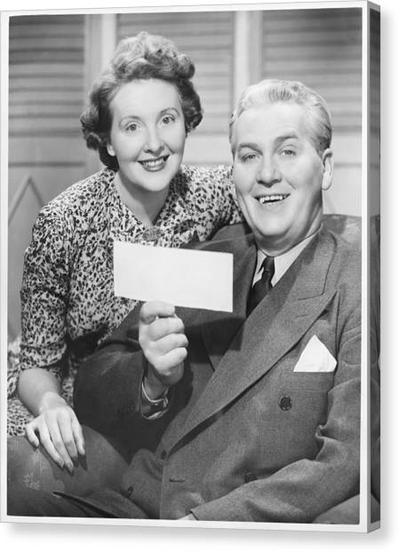Mature Couple Posing, Man Holding Check, (b&w), Portrait Canvas Print by George Marks