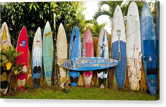 Surfboard Fence Canvas Print - Maui Surfboard Fence 5 by Rosanne Nitti