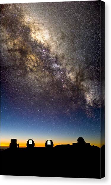 University Of Hawaii Canvas Print - Mauna Kea Telescopes And Milky Way by David Nunuk