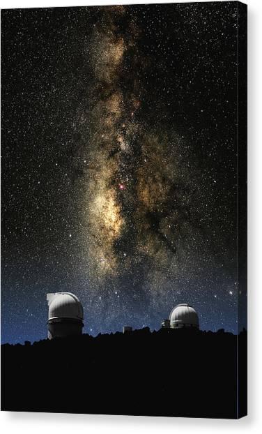 The University Of Texas Canvas Print - Mcdonald Observatory And Milky Way by Larry Landolfi