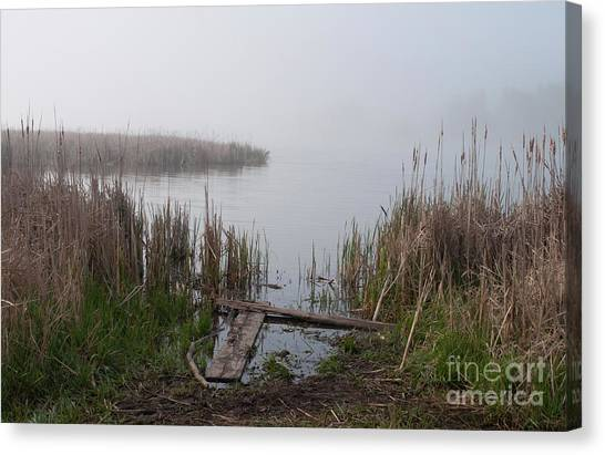 Mclaughlin Bay In The Fog At The Shore Canvas Print by Gary Chapple