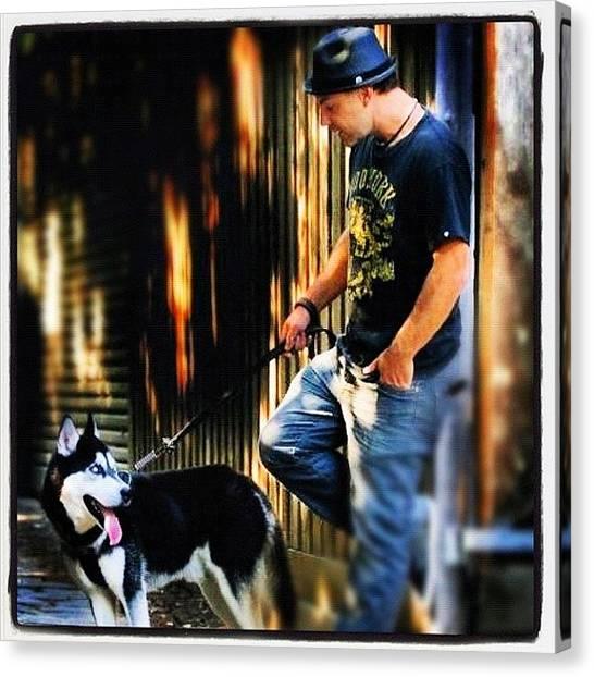 Huskies Canvas Print - Me And My Dog. #husky #dog #animal by Brett Pugsley