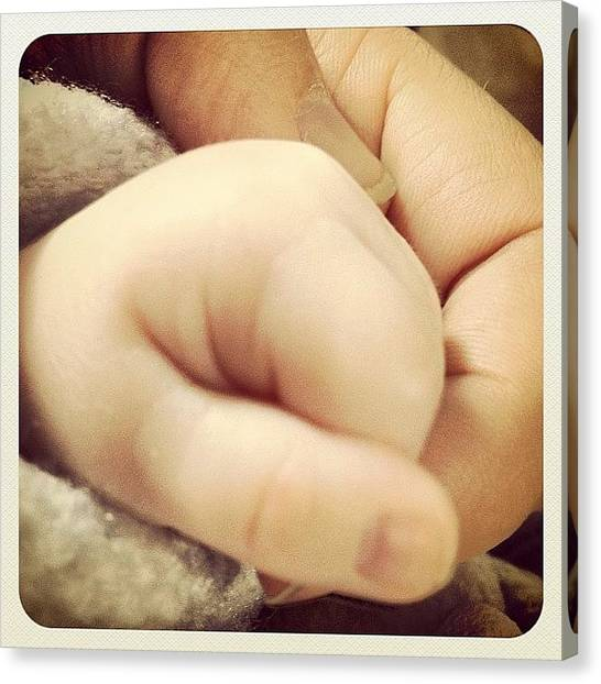 Hands Canvas Print - #me And My Son's Hand by Wilbert Claessens