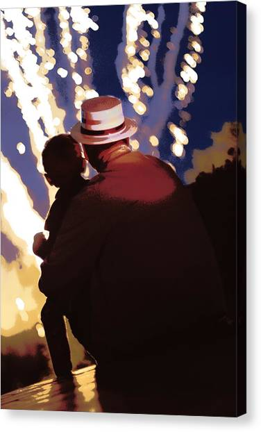 Me And Papa - 4th Of July Canvas Print