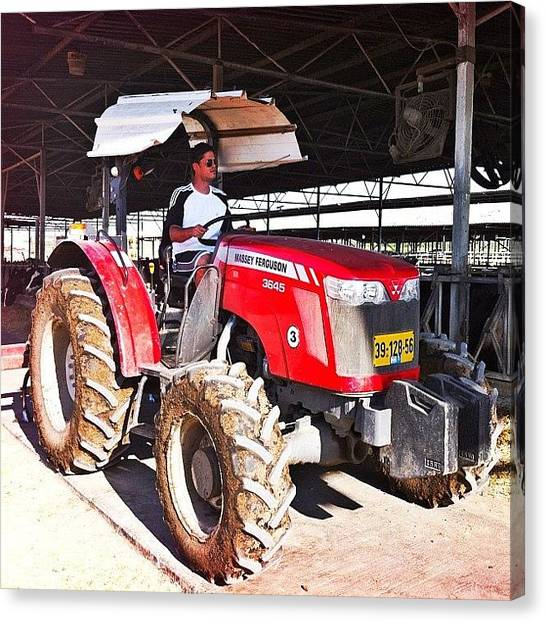Machine Canvas Print - #me #myself #i #tractor #agriculture by Alon Ben Levy