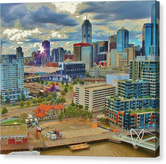 Melbourne City Blocks Of Color Canvas Print