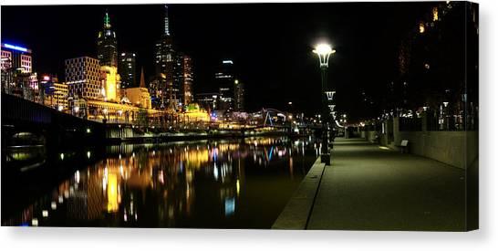 Melbourne Night Canvas Print by John Monteath