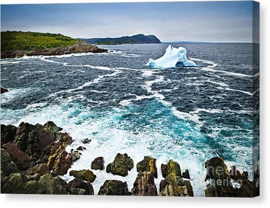 Ice Caves Canvas Print - Melting Iceberg In Newfoundland by Elena Elisseeva