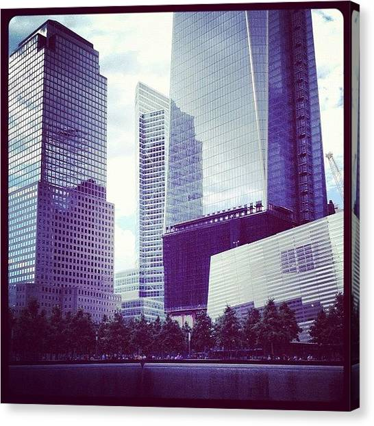 White Canvas Print - Memorial And Trade Centers by Randy Lemoine