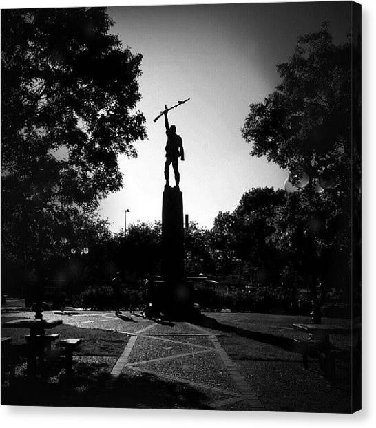 Soldiers Canvas Print - Memorial At Milam Park, San Antonio, Tx by Clifford McClure