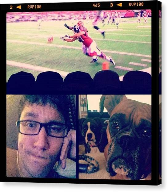 Bengals Canvas Print - Me..my Bitches & Football!! Can't Wait by Joel Torres